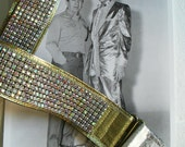 """NUDIE Strap - Nudie Suit for your Instrument, 2"""" Wide Aurora Borealis Rhinestones, the KING! Stunning Gold and Silver Lame'"""
