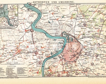 1899 Antwerp also with its Surroundings in the 19th Century Dated Antique Map
