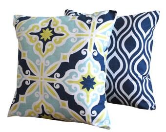 Decorative THROW PILLOWS.  20 x 20 Blue Throw Pillow Covers. Navy  Decorative Throw pillows