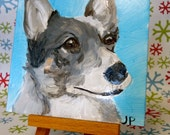"These are four  custom 4""x4"" pet portraits with easels"