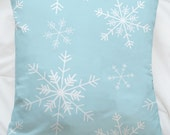 16x16 Snowflakes Holiday Winter Cotton Pillow. Snow, Blue, Christmas, Festive, Snowing, White Christmas, Blizzard, Falling Snow, Wintery - UrbanWorksTextiles