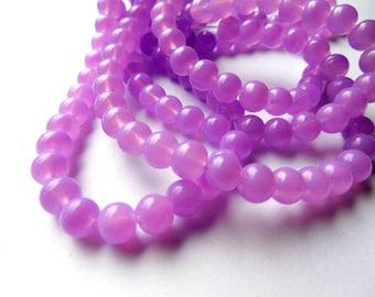 50 Purple Glass Beads