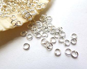50/100 Silver Plated Jump Rings 3mm, Open Loop - 7-1