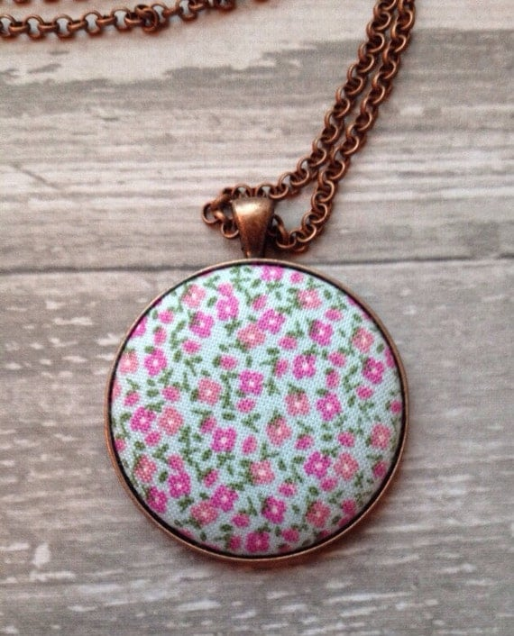 Soft Blue with Mini Pink Flowers Necklace