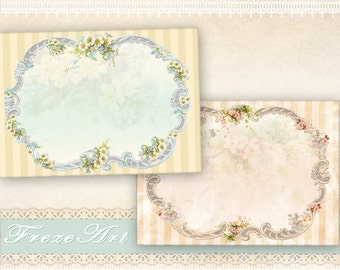 Shabby greeting cards Gift tags Printable download on Digital collage sheet Digital backgrounds Jewelry holders - SHABBY NOTE CARDS