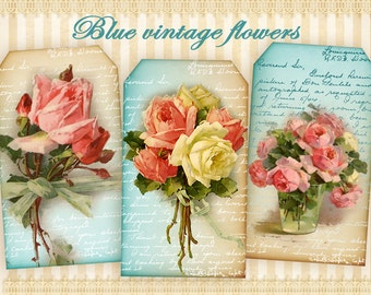 Vintage flower tags Printable gift tags Digital tags on Digital collage sheet Printable sheet Shabby flowers Paper goods Paper craft