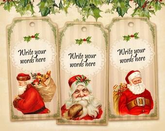 Christmas Santa gift tags Printable gift tags on Digital collage sheet Printable download sheet Blank Christmas tags