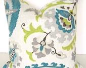 PILLOWS Decorative Throw Pillows Teal Blue Pillow 20x20 Gray Lime Green Throw Pillow Covers Linen Grey Floral Decor Home and Living