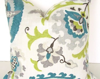 TEAL PILLOWS Blue Throw Pillows Gray Pillows Lime Green Throw Pillow Covers Turquoise Grey Floral 16 18 20x20 All Sizes Linen Home Decor