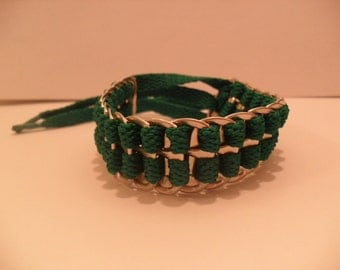 Upcycled Soda Can Tab and Green Shoelace Bracelet! Very Cool!