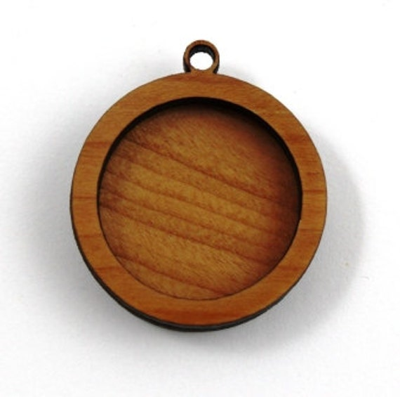 Laser Cut Supplies-1 Piece.Round Framed Pendant - Cherry Wood Laser Cut Pendant -  Little Laser Lab Sustainable Wood Products