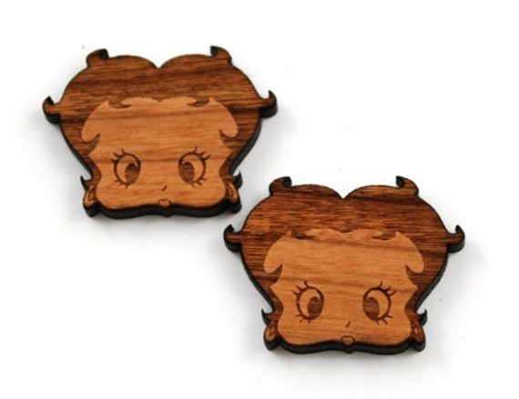 Laser Cut Supplies-1 Piece.Betty Boop Charms - Cherry Wood Laser Cut Betty Boop -Brooch Supplies- Little Laser Lab Sustainable Wood Products