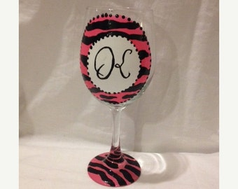 Popular items for initial wine glasses on etsy for Painted wine glasses with initials