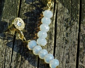 Swarovski crystal white opal color, gold stup dangle earrings