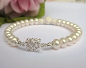 Dainty ivory freshwater button pearl bridal single strand bracelet with Sterling silver CZ sparkle box clasp