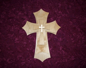 Unfinished Wood Layered Wooden Cross Stacked Paintable MDF Craft Crosses Part LC15-401