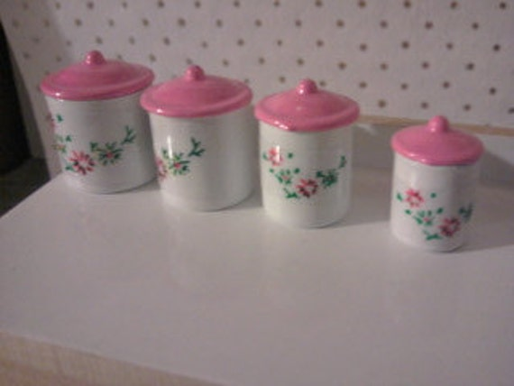 pink white kitchen canister set for dolls house kitchen