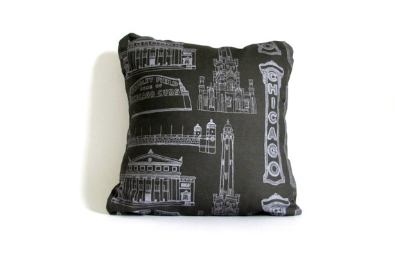 Chicago Landmark Pillow - Black & Gray