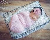 Newborn Photo Prop Set: Pink Knit Wrap and Free Headband for Newborn Photo Shoot, Maternity Wrap, Newborn Wrap, Newborn Prop, Infant Photo