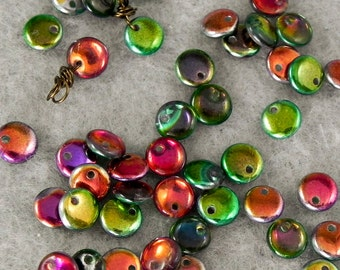 Marea 6mm Lentil Bead - One Hole Czech Glass Beads - 50 beads - 1254 - Lentil Drop