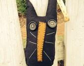 Handmade Primitive Everett the Cat Woolfelt Doorknob Pillow Greeter