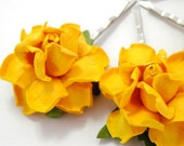Yellow Rose Hair Clips, Flower Clips, Wedding Flower Pins, Bridal hair pins, Bobby Pin Flowers, Floral Hair Bobbies