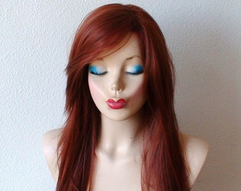 Auburn straight hairstyle wig. Durable Heat resistant synthetic wig for cosplay / daily use