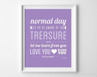 Wall Art Digital Print Typography Print Printable Art Normal Day Inspirational Quote Purple Lilac Plum