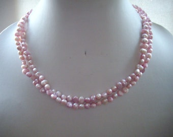 SALE Pink Freshwater Pearls Double Strand Necklace with Silver Chain and Pink Crystals
