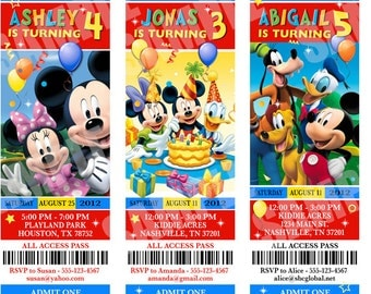 Mickey Mouse Clubhouse Birthday Invitations - Printable Party Ticket Invitations
