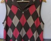 Faconnable Cranberry Red Women's Cotton Sweater Vest [HGR]