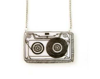 Retro Cassette Tape Shrink Plastic Necklace (transparency)