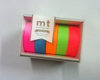 2013 MT ex  AW Autumn Masking Tape /  Japanese Washi Masking Tape /Gift Box - Neon / MT05G002 / 5 roll of set