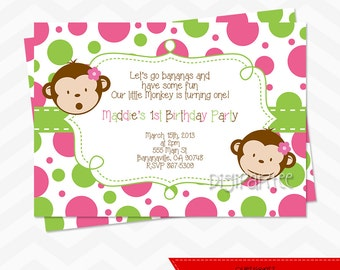 Girls Mod Monkey Invitation