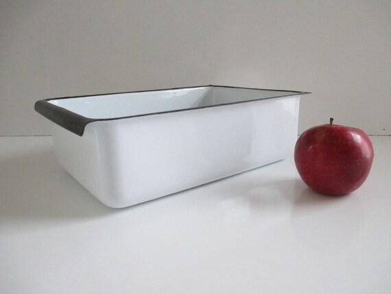 White Enamelware Pan - Old Farmhouse Enamel Refrigerator Tray w/ Black Trim
