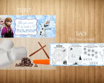 Do you want to build a snowman? - Disney Frozen favor bag label Printable - INSTANT DOWNLOAD