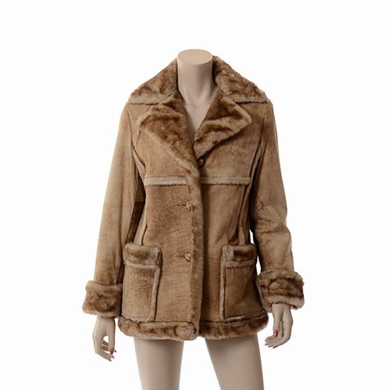 Vintage Womens 70s Schott Shearling Coat 1970s Distressed