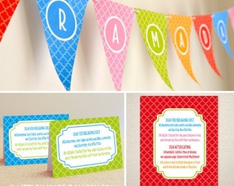 Printable Ramadan Decoration Set (Moroccan Delights - Rainbow) Islamic Design