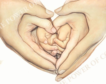"""Original watercolor painting- Family- All We Need is Love- watercolor painting of heart shaped hands- 8"""" x 10"""" art print- FREE SHIPPING"""