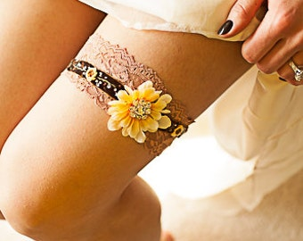 Sunflower garter set rhinestone embellishment brown velvet embroidered ribbon stretch lace bridal fall country rustic custom