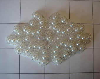 """3 1/4"""" by 2 1/8"""" Beaded and Pearl Applique Diamond Shape (A-22)"""