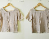 Vintage Japanese light brown and white gingham cotton blouse,short sleeve top, summer shirt, square neck, with cute crochet trim,zakka,S-M-L