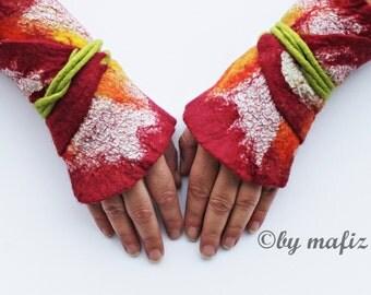 GauntletsUnique handmade felt hot transition to wrap wrapping arm warmers wrist warmers cuffs cuffs cuff