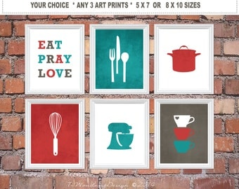 Kitchen Art Print Set - Eat Pray Love, Utensil Appliance Silhouettes - Set of (3) 5x7 OR 8x10 // Red Turquoise Charcoal Grey // Kitchen Art
