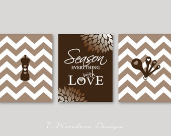 Modern Kitchen Art Prints, Season Everything with Love - Brown White Blend, Set of (3) // 5x7, 8x10 or 11x14 // Modern Kitchen - Unframed