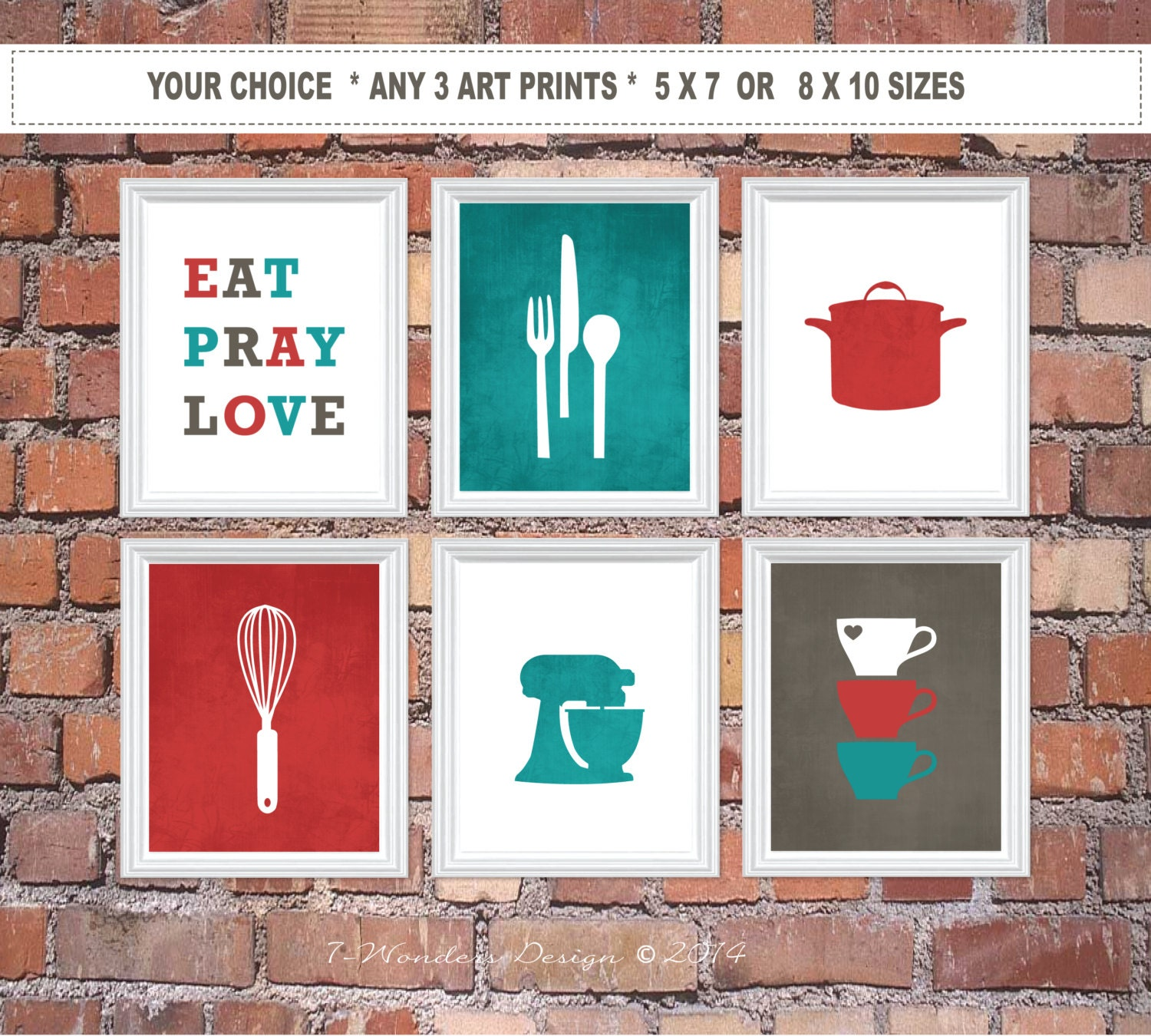 Modern Kitchen Wall Decor Eat Pray Love Trio By: Kitchen Art Print Set Eat Pray Love Utensil Appliance