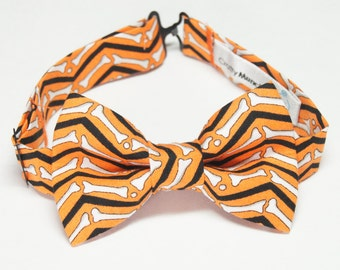 Bow Tie - Halloween Orange with Bones Bowtie
