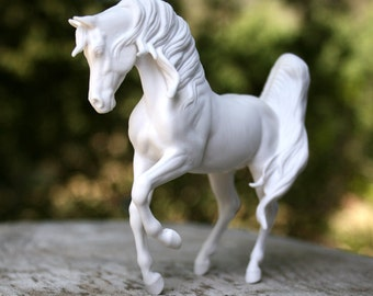 White Matte Bone China Arabian Stallion Unglazed Horse Sculpture Ceramic Figurine Gift for horse lover Monya