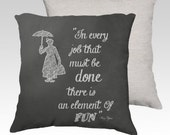 """18"""" X18"""" Chalkboard Art Pillow Zippered Cover / Case """"Element Of Fun"""" quote Chalk Silhouette. SUPER Luxurious Soft!"""