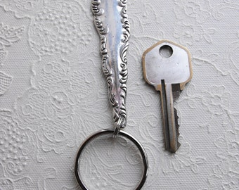 Key Chain - Upcycled Vintage Silver Plated Silverware Keychain with Split Ring Asymmetrical Design